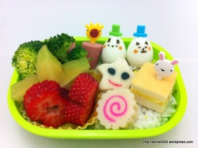mr bunny and bear quail eggs bento